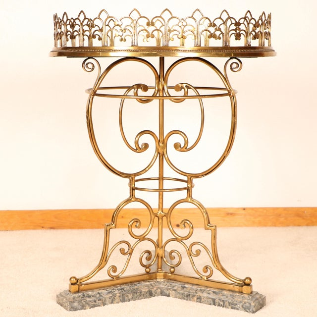 Brass & Marble Center Table For Sale - Image 5 of 11
