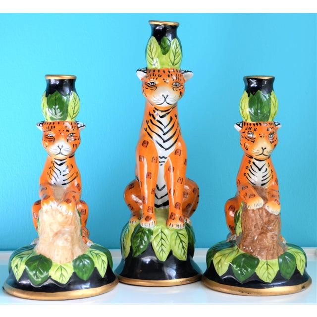 Vintage Palm Beach Regency Leopard Candle Holders- Set of 3 For Sale - Image 9 of 9