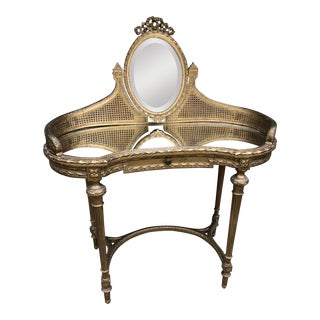 19th Century Italian Gilded Vanity With Curved Oval Mirror For Sale