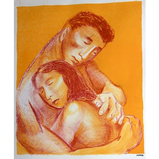 Mid-Century Lithograph Embracing Couple For Sale