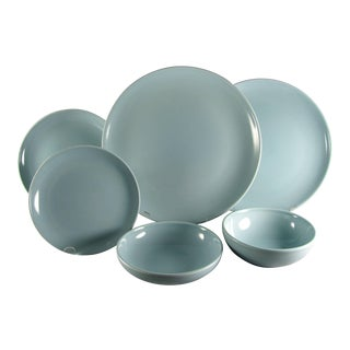 1950s Russel Wright Iroquois Casual Ice Blue Service for 4 Dinnerware - 24 Piece Set For Sale