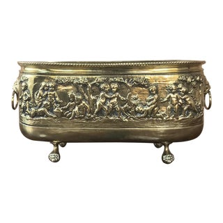 19th Century French Embossed Brass Jardiniere For Sale