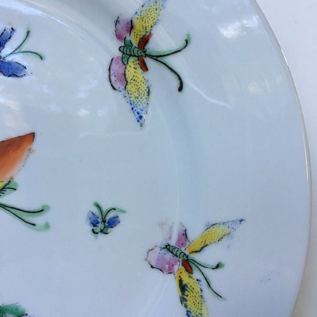 1980s 1980s Vintage Chinese Decorative Porcelain Butterfly Plate For Sale - Image 5 of 10