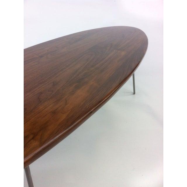 Elliptical Surf Board Table Handmade Solid Walnut - Image 4 of 5