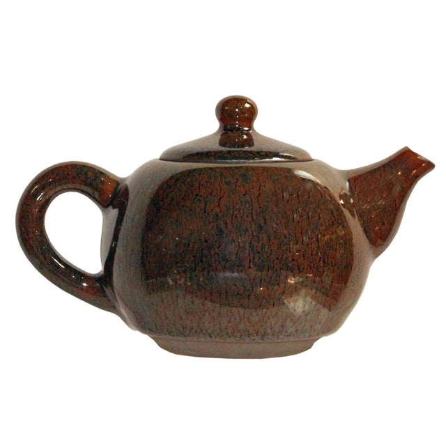 Arts & Crafts Chinese Handmade Jianye Clay Bronze Brown Glaze Decor Teapot For Sale - Image 3 of 7