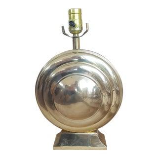 Mid Century Brass Circular Bulls Eye Table Lamp