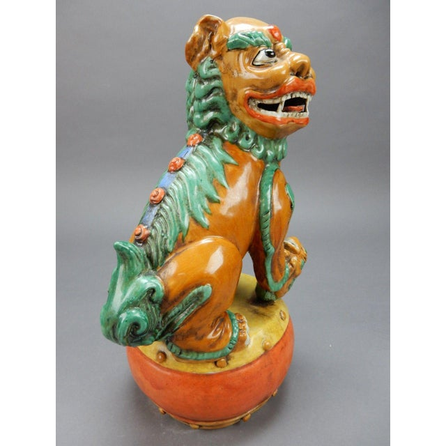 Late 19th Century Antique Chinese Nan King Orange Drip Glazed Female Foo Dog For Sale - Image 9 of 13