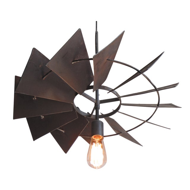 Vintage Rustic Windmill Pendant Light For Sale