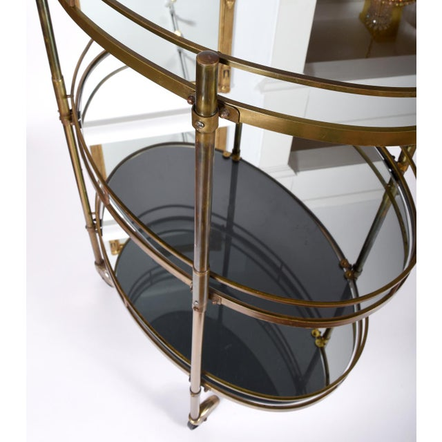 Vintage Three-Tiered Mirrored Shelves Wheeled Bar Cart For Sale In New York - Image 6 of 7