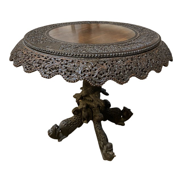 19th Century Burmese Round Center Table For Sale