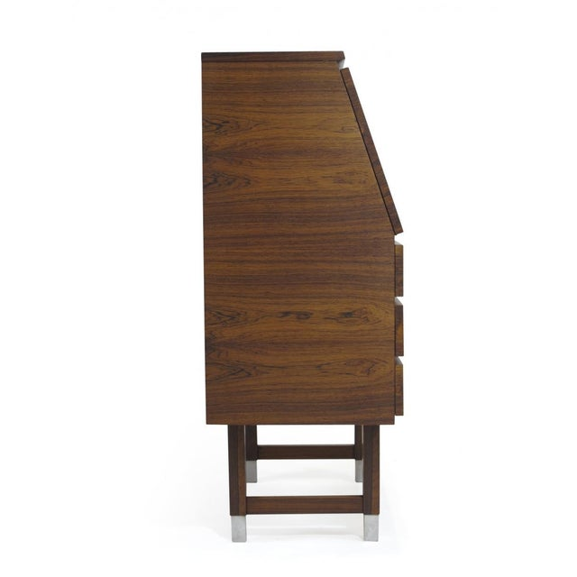 Brown Kai Kristiansen Rosewood Secretary With Aluminum Inlaid Pulls For Sale - Image 8 of 13