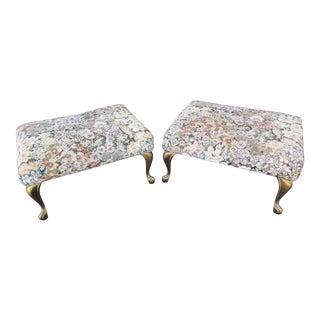 Vintage Floral Print Footstools -A Pair