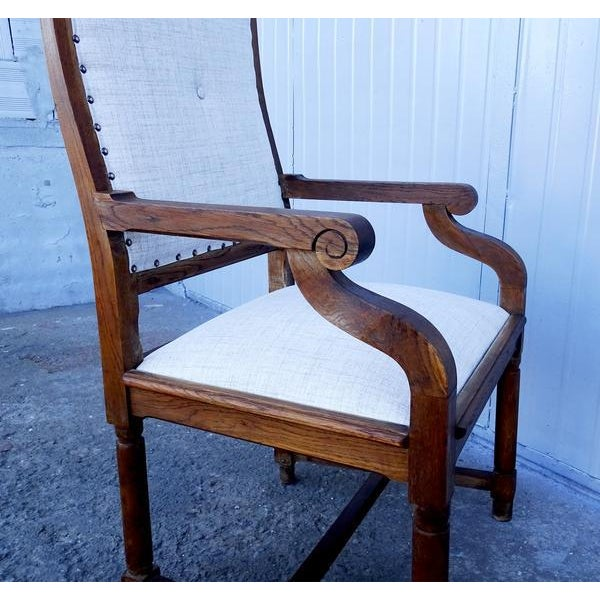 Walnut French Louis XIII Style Restored Reupholstered Walnut Throne Armchair For Sale - Image 7 of 9