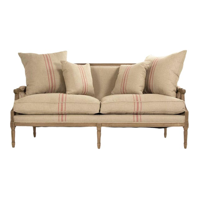 Audley Sofa in Khaki Linen with Red Stripes For Sale