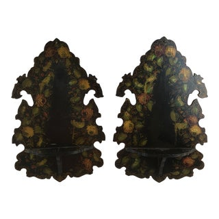 1900s Victorian Japanned Black Mother of Pearl Wall Shelves - a Pair For Sale