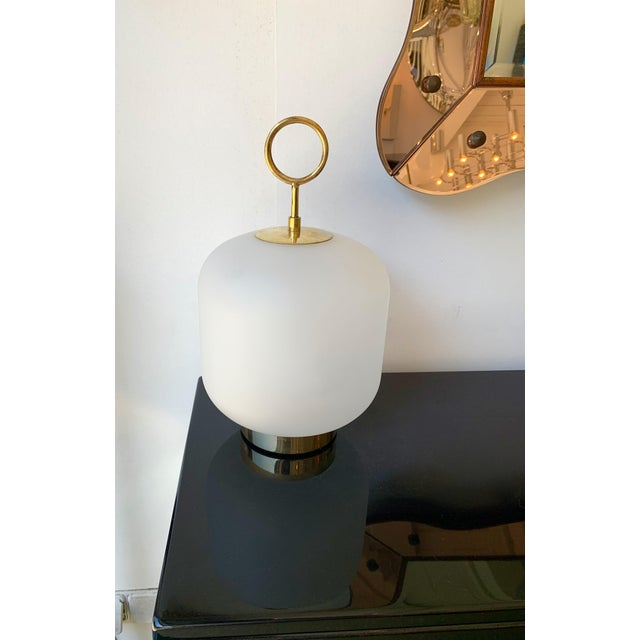 Mid-Century Modern Contemporary Murano Glass Brass Ring Medium Can Lamps - a Pair For Sale - Image 3 of 13