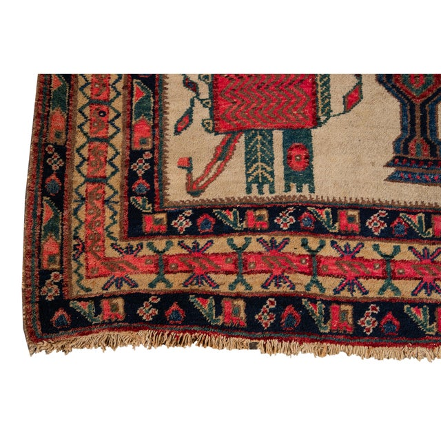 Mid-20th Century Vintage Persian Rug 4' 2'' X 6' 3''. For Sale In New York - Image 6 of 12