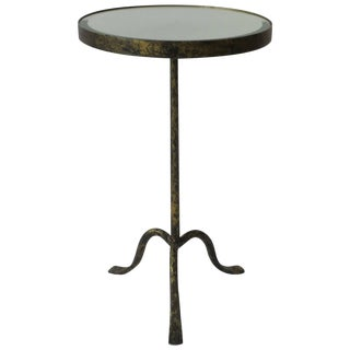 Gold Gilt Round Gueridon Side Table With Mirror Glass Top For Sale