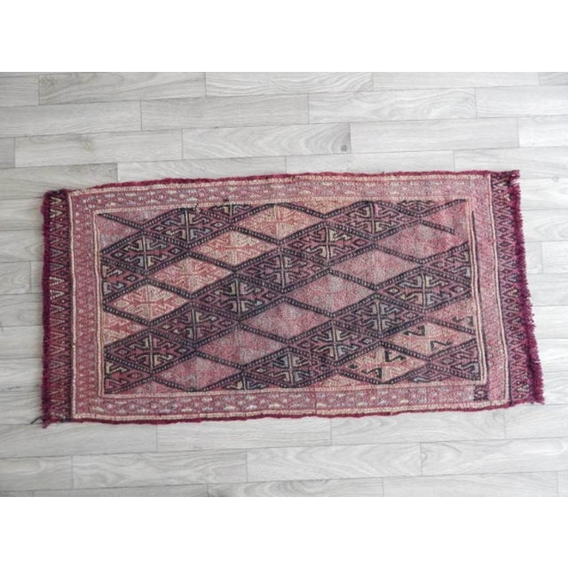 Vintage Small Turkish Kilim Rug 18.5'' X 36.2'' / 47x92cm Hand woven with high quality pure wool Excellent condition From...