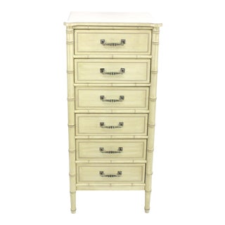 Mid Century Faux Bamboo Chest of Drawers For Sale