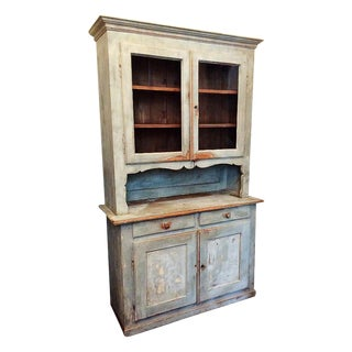 19th Century Rustic Painted Buffet a Deux Corps For Sale