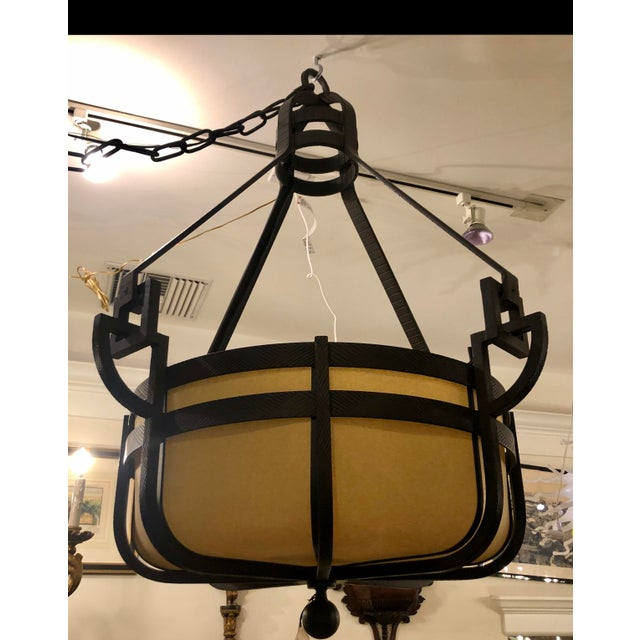 Traditional Huge Signed Paul Ferrante Pounded Wrought Iron Manhattan III Chandelier For Sale - Image 3 of 9