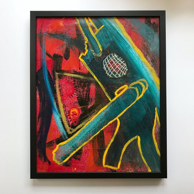 "This 16""x20"" oil on canvas by Chicago artist Vito Corriero was made in a series of ""space-robot abstracts"" in 2012. It is..."