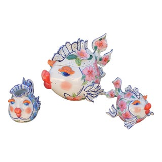 Fish Shaped Hand Painted Ceramic Teapot & Dishes - Set of 3 - Mid Century