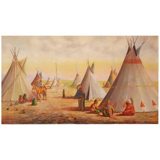 Large Oil Painting of Native American Indian Village For Sale