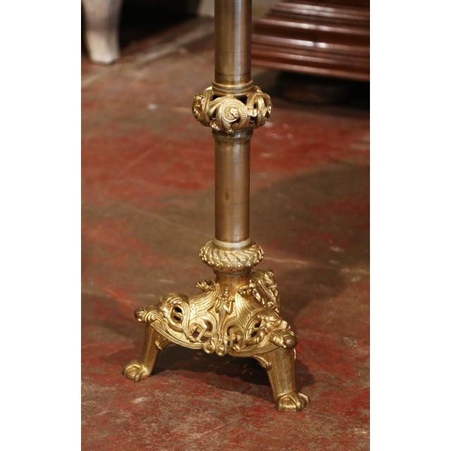 19th Century French Empire Bronze Doré and Marble Side Pedestal Table For Sale - Image 4 of 6