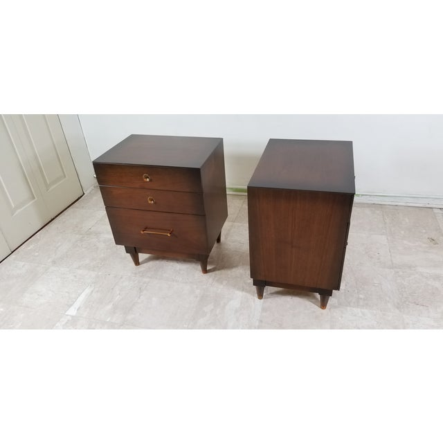 Modern 1970s Modern Walnut Nightstands - a Pair For Sale - Image 3 of 13