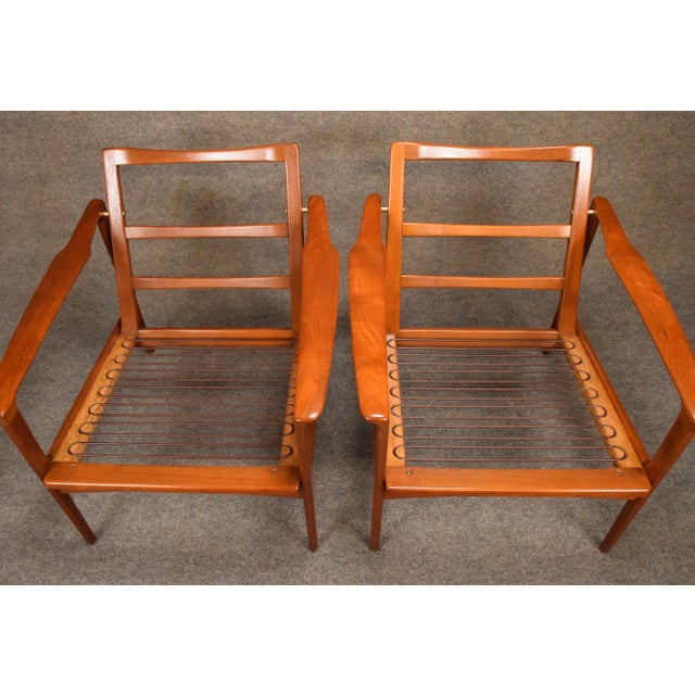1960s Mid Century Modern Teak Lounge Chairs - a Pair For Sale - Image 9 of 11