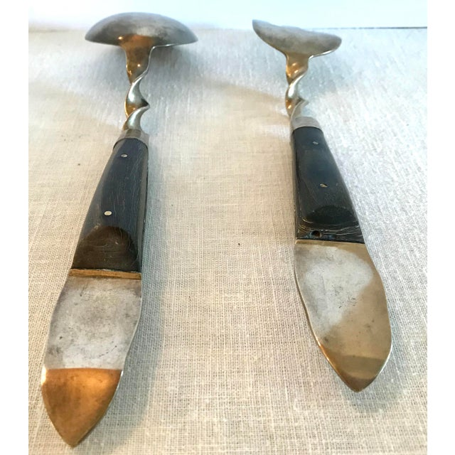 Vintage Brass and Rosewood Serving Set For Sale - Image 9 of 11