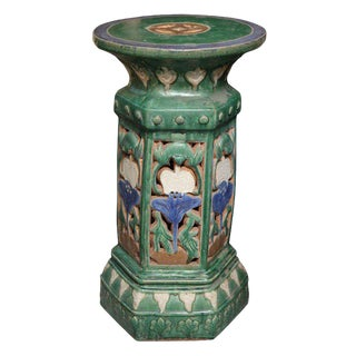 French Colonial Art Nouveau Style Garden Pedestal Made with Glazed Ceramic For Sale