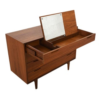 Compact Danish Modern 4-Drawer Chest With Vanity by Kofod-Larsen For Sale