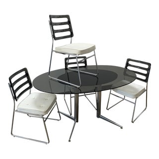 Mid Century Modern Smoked Lucite and Glass Dining Set For Sale
