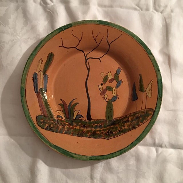 1930s Vintage Mexican Tlaquepaque Ceramic Pottery Folk Art Charger Plate For Sale In Denver - Image 6 of 6