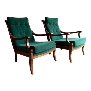 Antique Armchairs Victorian Beech, 19th Century, Continental - A Pair For Sale