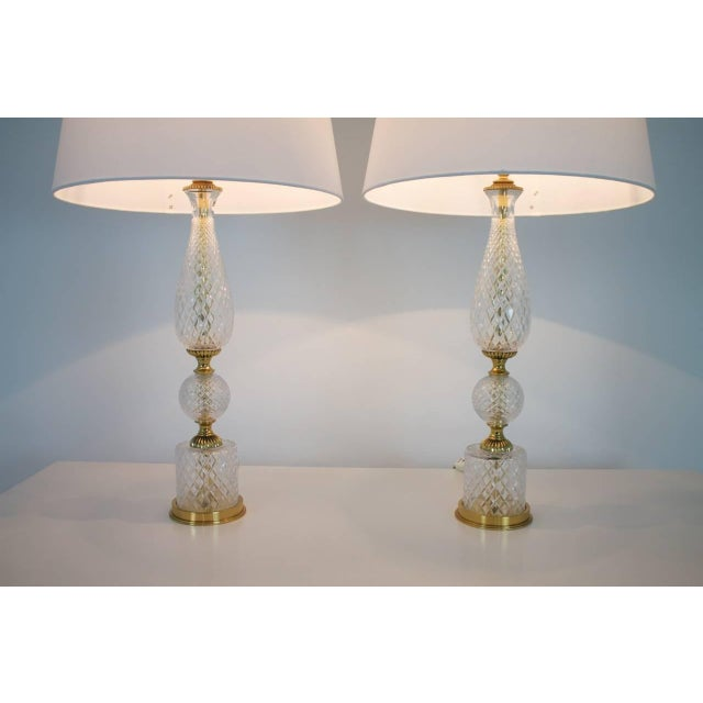 Metal Pair of Textured Glass and Brass Table Lamps, 1960s For Sale - Image 7 of 7