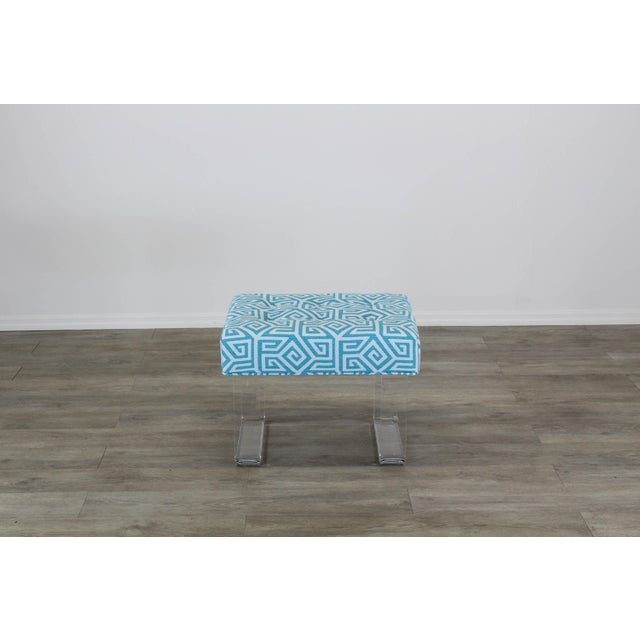 Acrylic Acrylic Waterfall Benches- a Pair For Sale - Image 7 of 12