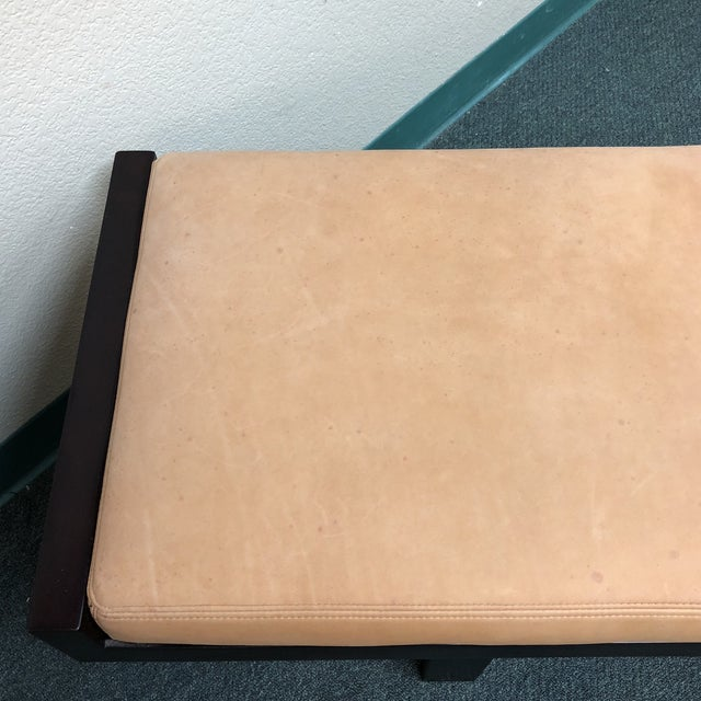 Custom Modern Coach Leather Top Bench For Sale - Image 9 of 12