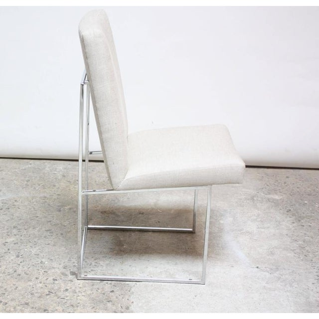 Set of Six Milo Baughman 'Thin Line' Chrome Dining Chairs - Image 8 of 11