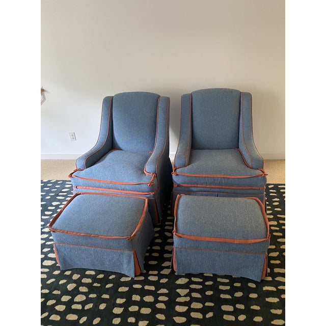 Traditional Custom Made Large Swivel Chairs With Ottomans - 4 Pieces For Sale - Image 3 of 13