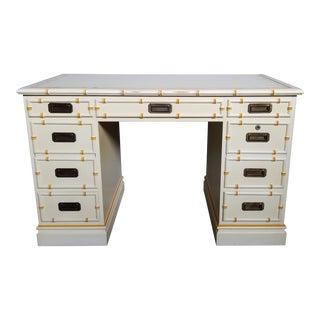 Sligh Furniture Faux Bamboo Leather Top Partner Desk For Sale