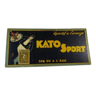 Vintage French Advertising Sign for Kato Sport Aperitif For Sale