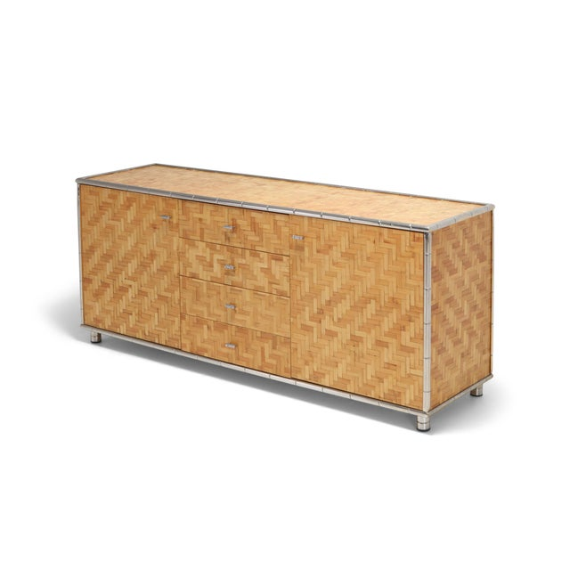 Bamboo Credenza With Faux Bamboo Chrome Frame Gabriella Crespi Style - 1970s For Sale - Image 10 of 10