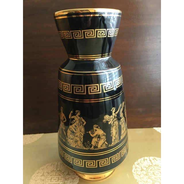 Neoclassical Revival Vintage Greek Gods 24k Gold Vase For Sale - Image 3 of 11