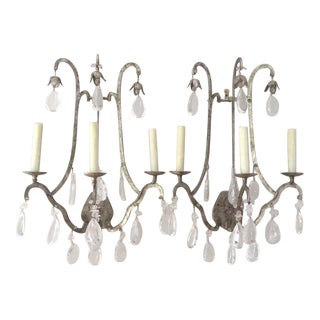Holly Hunt Dennis & Leen French Silver Leaf Iron Crystal Wall Sconces - a Pair For Sale