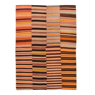 Mid-Century Flatweave Handmade Orange Wool Rug