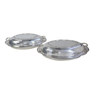 English Silver-Plate Serving Dishes - A Pair
